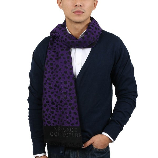 Versace SC56 STCK 002 Purple/Black 100% Wool Mens Scarf - 14.5-72