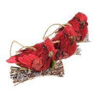 Set of 3 Red Glittered Cardinal Bird Christmas Figure Ornaments 3.75""