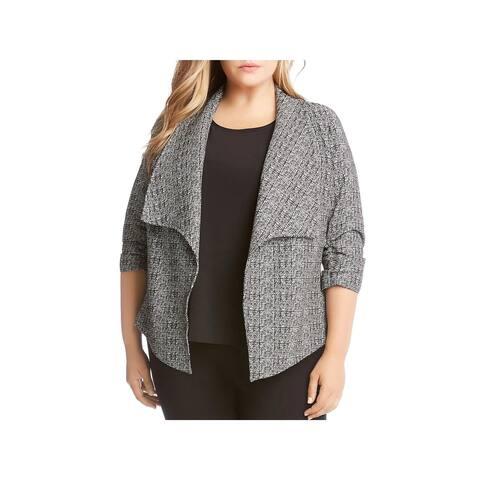 Karen Kane Womens Plus Jacket Printed Shirred