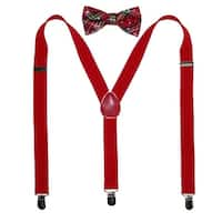CTM® Men's Holiday Plaid Bow Tie with Solid Suspender Set - One size