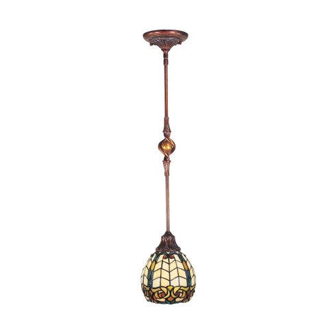 "31"" Antique Golden Sand Raphael Hand Crafted Glass Hanging Mini Pendant Ceiling Light Fixture"