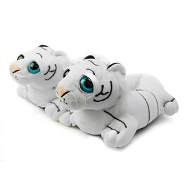 Fuzzy White Tiger Slippers Youth Large