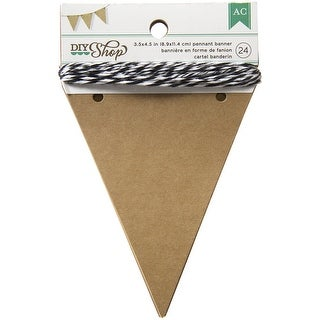 "DIY Shop Banner 24pcs W/String-Kraft Pennants, 3.5""X4.5"""