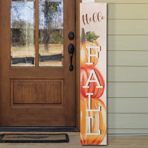 "Glitzhome 42""H Wooden Pumpkin Porch Sign"
