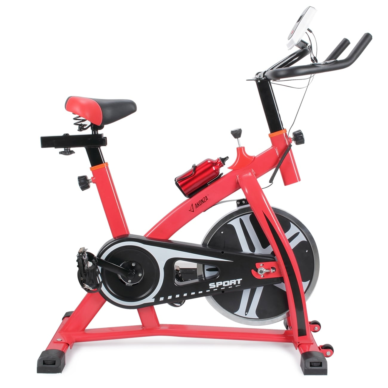 Red exercise bike stationary cycling training home gym adjustable