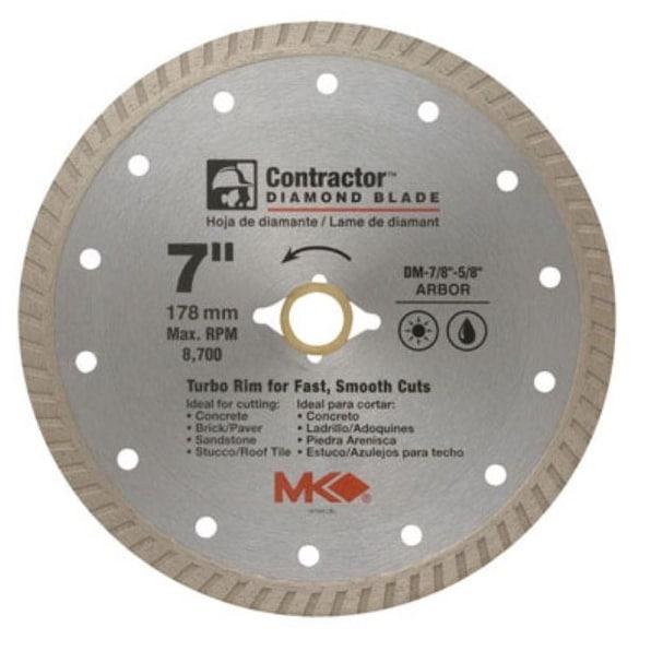Shop MK Diamond 167022 Mk-99 Arbor Turbo Rim Diamond Blade, 7