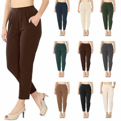 NioBe Clothing Womens Pleated High Rise Elastic Waist Pants w/ Pockets