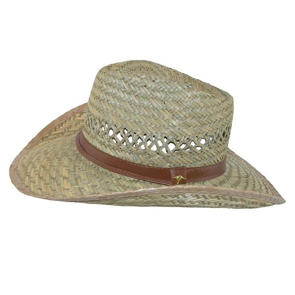 The G Cap G Mens Rush Straw Cowboy Hat with Chin Cord