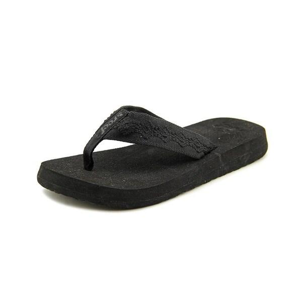 Reef Sandy Women Open Toe Canvas Black Thong Sandal