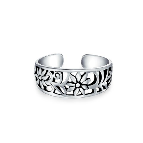 Bling Jewelry Adjustable Mid Finger Ring Flower 925 Silver Toe Rings