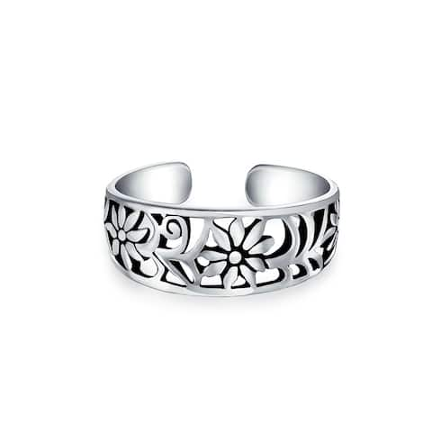 Flowers Craved Swirl Cut Out Filigree Midi Band Toe Ring 925 Silver Sterling Mid Finger Adjustable
