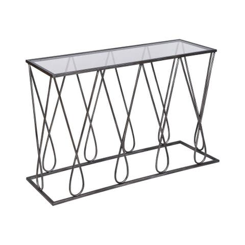 Dudley Leys - 54 Inch Console Table Graphite Finish with Black Glass