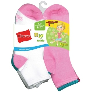 Hanes ComfortBlend EZ-Sort Girls' Ankle Socks 11-Pack (Includes 1 Free Bonus Pair) - L