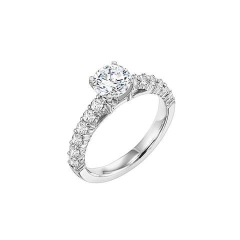 Frederick Goldman RHEA Four Prong Platinum 0.50 CT Diamond Engagement Ring with Sidestones