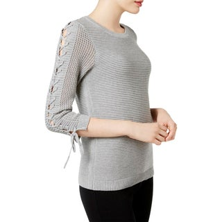 Calvin Klein Womens Tunic Sweater Lace Up Sleeves Knit