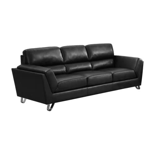 Merveilleux Monarch Specialties I 8203BK 86 Inch Long Bonded Leather Sofa