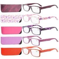 Eyekepper 5-Pack Spring Hinges Plastic Patterned Rectangular Reading Glasses Readers Women +0.5