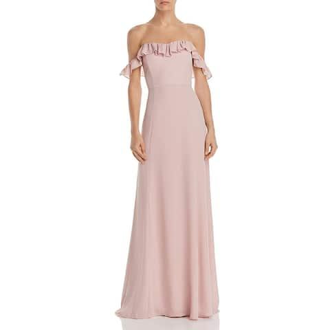 WAYF Womens Harlow Evening Dress Ruffled Off-The-Shoulder