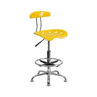 Offex Vibrant Orange-Yellow and Chrome Drafting Stool with Tractor Seat [OF-LF-215-YELLOW-GG]