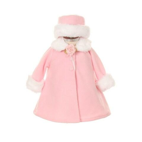 Kids Dream Pink Fleece Faux Fur Collar Stylish Coat Baby Girl 6-24M