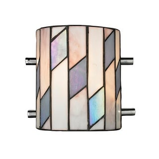 """7"""" Chrome, Purple, and Pink Glacier Hand Crafted Glass Wall Sconce"""