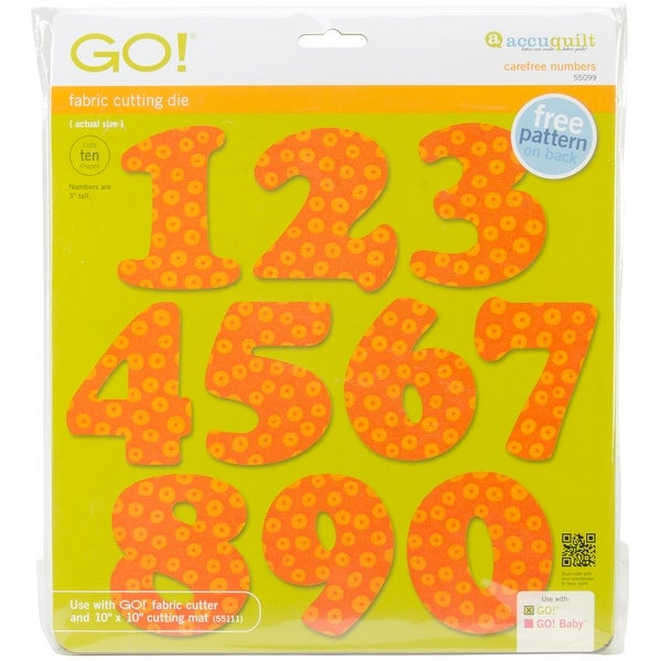 Go! Fabric Cutting Dies-Carefree Numbers 3""