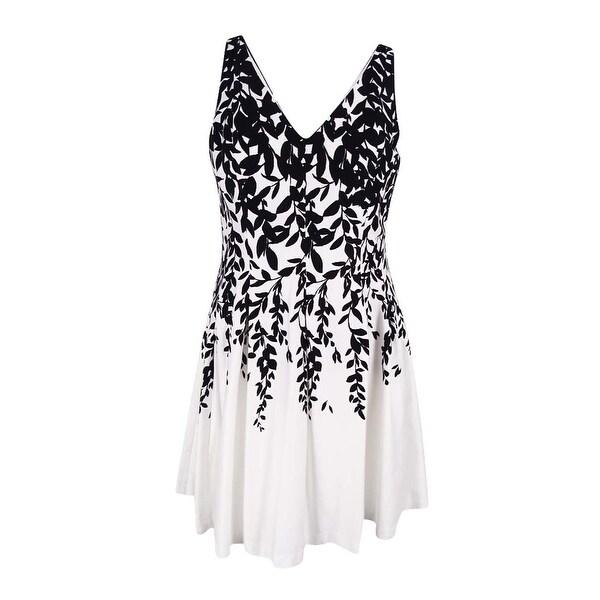 66aa575664 Shop Lauren Ralph Lauren Women s Sleeveless Floral Print Dress -  Black White - Free Shipping Today - Overstock - 16536460