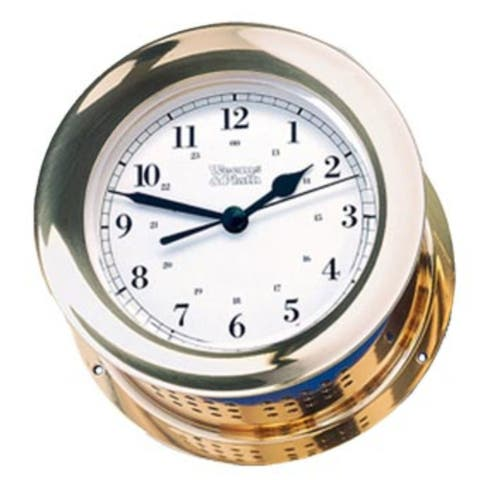 """8"""" White and Gold Traditional Round Shaped Clock"""