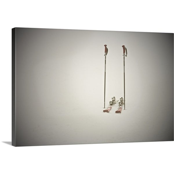 """Empty skis and poles in snow"" Canvas Wall Art"