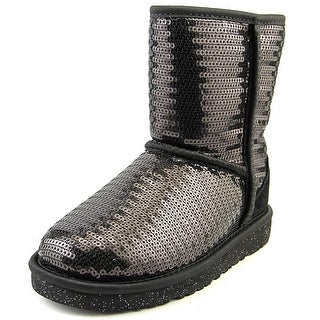 Ugg Australia Classic Short Sparkles Youth Round Toe Canvas Black Winter Boot