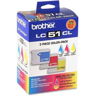 """""""Brother LC513PKS Brother LC513PKS Tri-Color Ink Cartridge - Cyan, Yellow, Magenta - Inkjet - 400 Page Cyan, 400 Page Yellow,"""