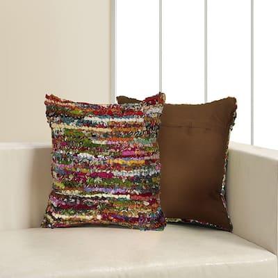 LR Home Motley Chindi Multi Stripe Floor Pillow 26 inch