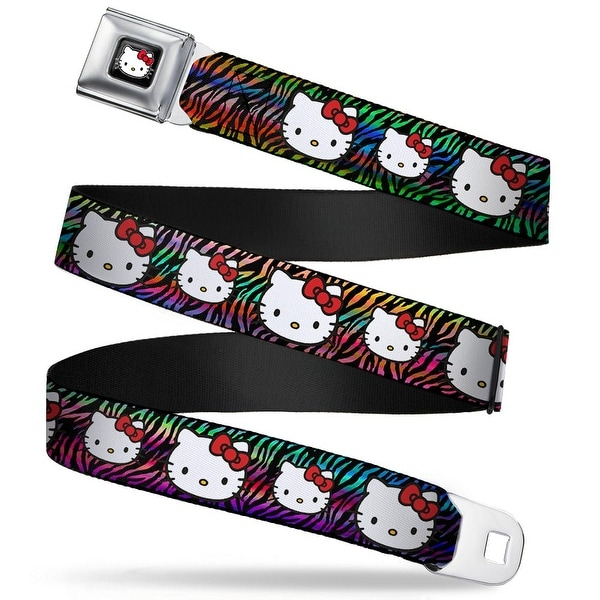 Hello Kitty W Red Bow Full Color Black Hello Kitty Multi Faces Zebra Black Seatbelt Belt