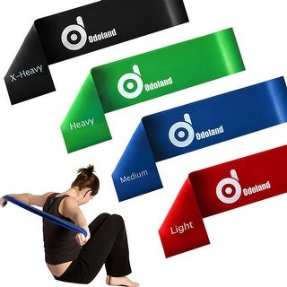 Stretch Exercise Resistance Loop Bands Set of 4 Light Medium Heavy X-heavy for Strength - SIZE