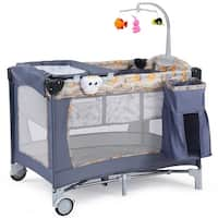 Costway Foldable Baby Crib Playpen Playard Pack Travel Infant Bassinet Bed Music Gray