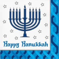 """Club Pack of 192 Blue and White Happy Hanukkah 2-Ply Disposable Luncheon Napkin 6.5"""""""