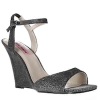 Betsey Johnson Duane Wedge Ankle Strap Dress Sandals, Black