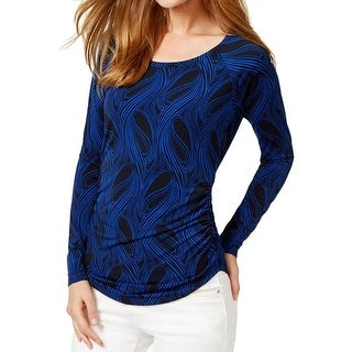 MICHAEL Michael Kors Womens Pullover Top Printed Ruched