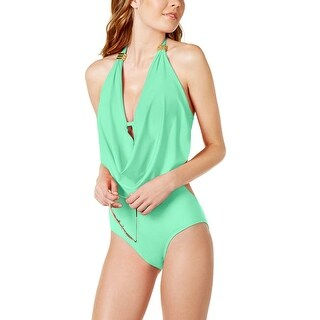 Bar III Draped Monokini Womens One Piece Swimsuit Seagreen X-Small