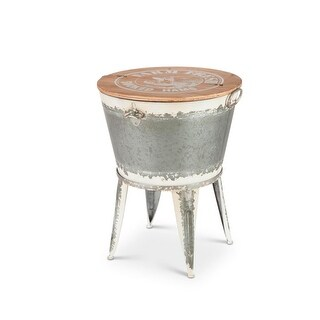 25.6 Gray and Brown White Washed Galvanized Beverage Tub Stand with Lid