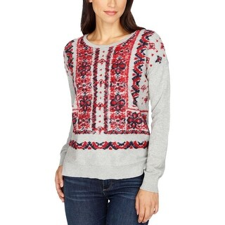 Lucky Brand Womens Sweater Printed Long Sleeves