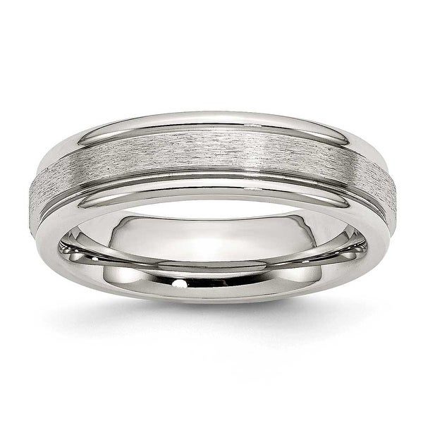 Stainless Steel Grooved Edge 6mm Satin and Polished Band