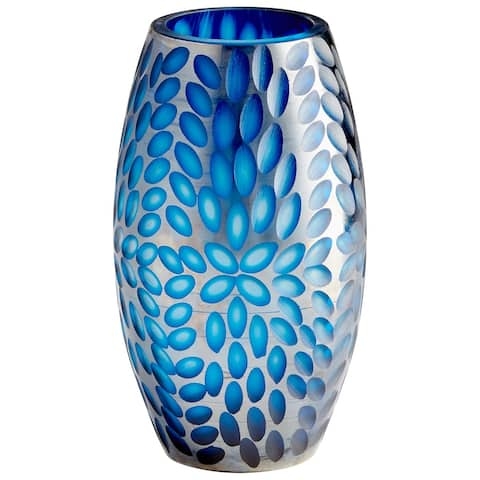 "Cyan Design 10030 Katara 7-3/4"" Diameter Glass Vase - Blue"