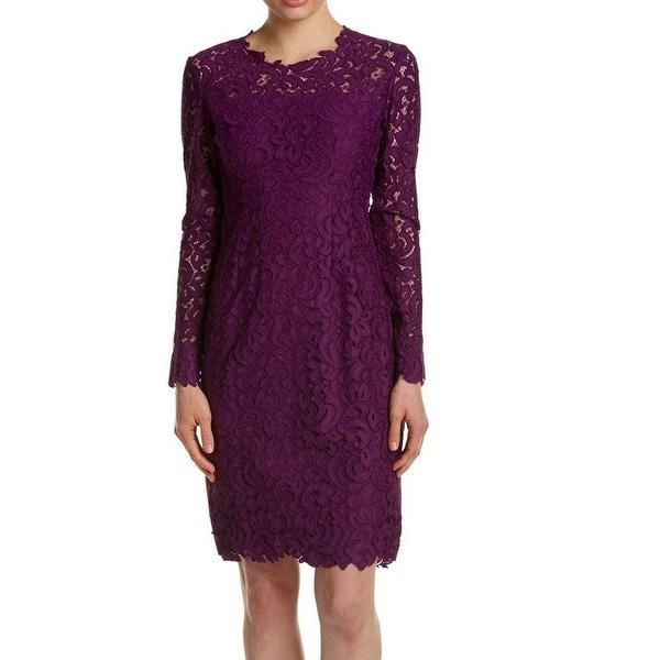 e3c32409368 Shop Elie Tahari NEW Purple Womens Size 6 Crochet Scoop-Neck Sheath ...