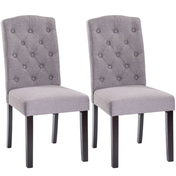 Dining Chair Set 2 Pair Accent Tufted Kitchen Modern Side: Shop Costway Set Of 2 Fabric Wood Accent Dining Chair
