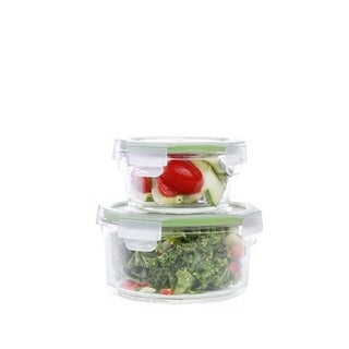 Kinetic Glassworks Round Oven Safe Glass Food Storage Container Wit