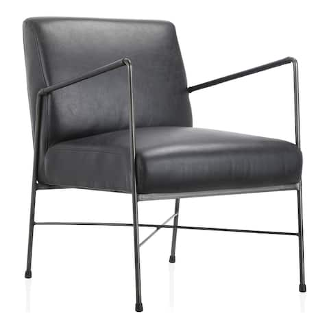 Aurelle Home Rustic Leather Upholstered Metal Frame Chair