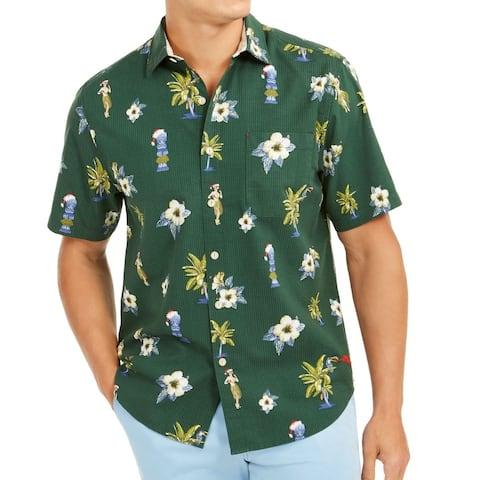 Tommy Bahama Mens Casual Shirt Green Size 3XL Tiki Print Button Down