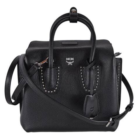 MCM Mini Milla Black Grained Leather Studded Crossbody Purse Tote