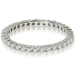 0.60 ct.twPetite 14K White Gold Round Shared Prong Diamond Stackable Eternity Ring,HI,SI1-2